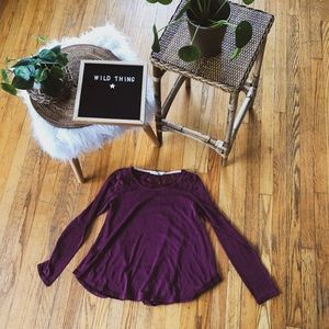 Burgundy lace accent top boho comfy long sleeve